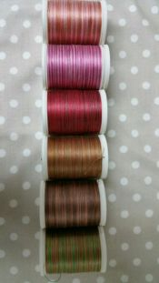 Premium Sulky Blendables<br>6 Blendables Rose to Brown<br>30 wt. 100% Egyptian Cotton<br>Retail $7 per spool<br><br>