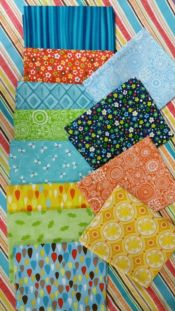 Summertime Memories Bundle<br>12 fat quarters plus 30 inch wof stripe for binding<br><br>
