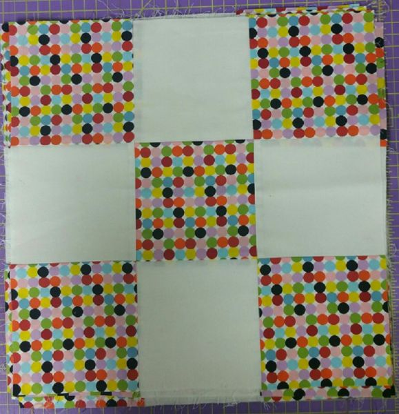 "10 Precision Pieced Blocks<br>15 1/2"" x 15 1/2""<br>White fabric is Kona Cotton<br>Dot fabric is Michael Miller<br>"