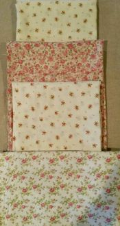 Rose Bundle<br>2 pieces white with tiny roses - each is 1.25 yards<br>Pink with roses is 7/8 yard<br>White with rose sprays is 17 x wof<br><br>
