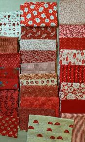 Red Stash Builder<br>Box 1<br>Over 7 pounds - large folded pieces are yardage<br>Free Shipping<br><br>